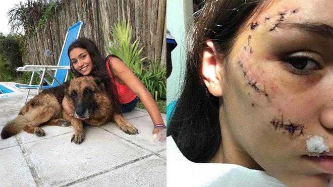 Un perro destroza el bello rostro de su dueña en uno de los selfies...