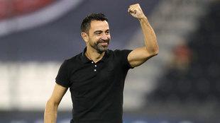 Xavi celebra un triunfo de Al Sadd.
