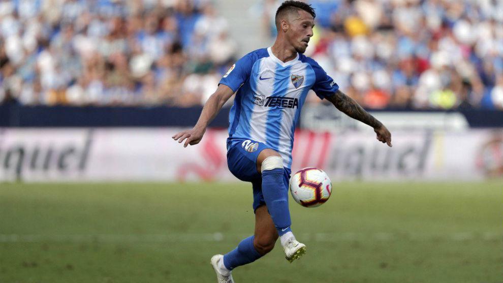 Iván Rodríguez, durante un partido con el Málaga. MÁLAGA CF