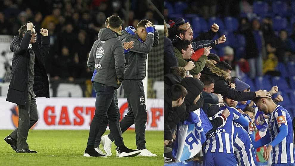 Fernando Vázquez celebra el triunfo y Çolak su gol con la afición...