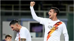 Lorenzo Pellegrini celebra el gol logrado contra la Fiorentina.