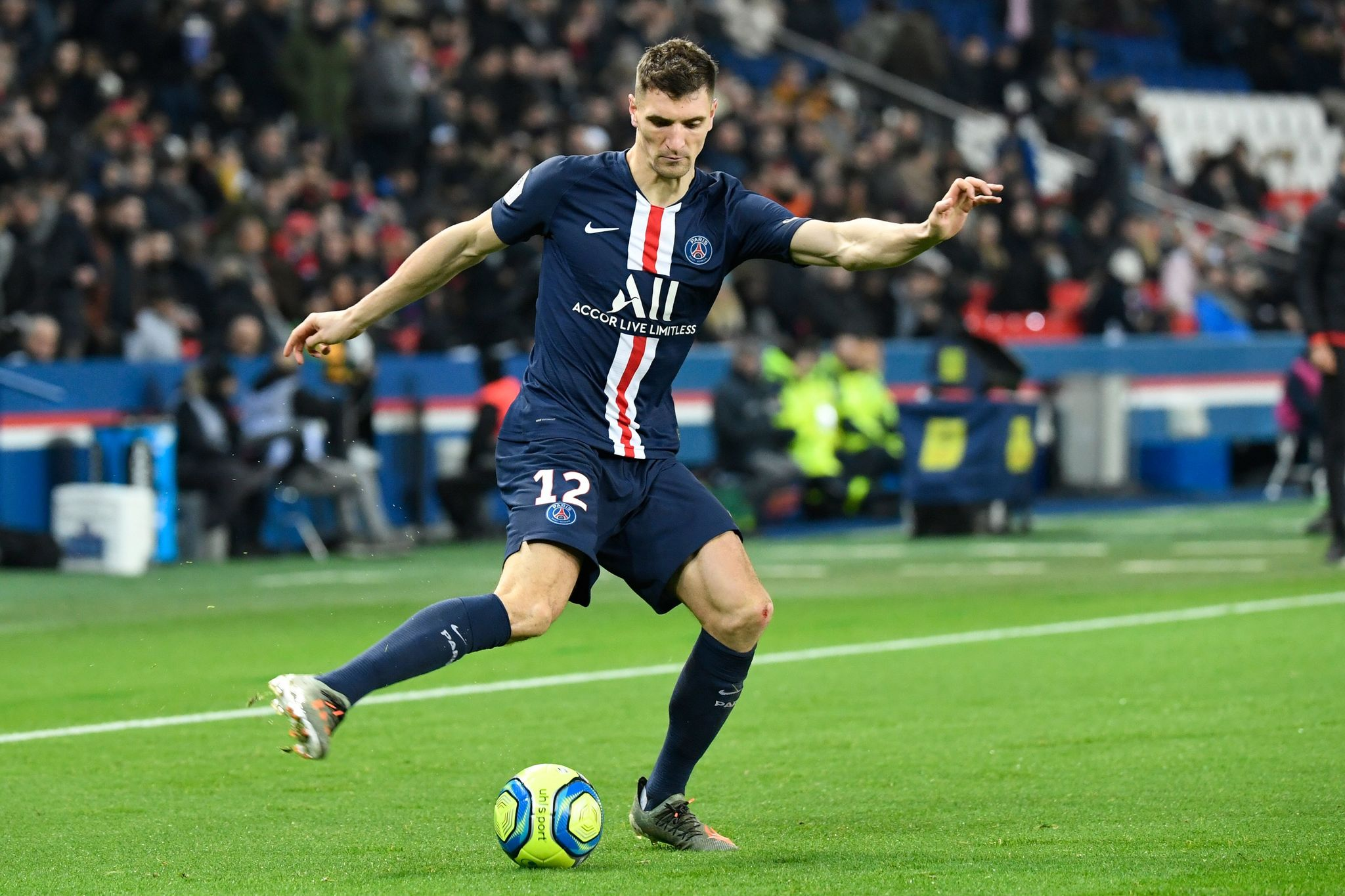 Paris Saint-Germains Belgian defender Thomas <HIT>Meunier</HIT> plays the ball during the French L1 football match between Paris Saint-Germain and AS Monaco at the Parc des Princes stadium in Paris on January 12, 2020. (Photo by Bertrand GUAY / AFP)
