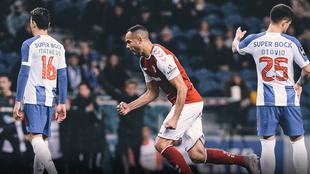 Fransergio festejando el primer gol del Braga SC.