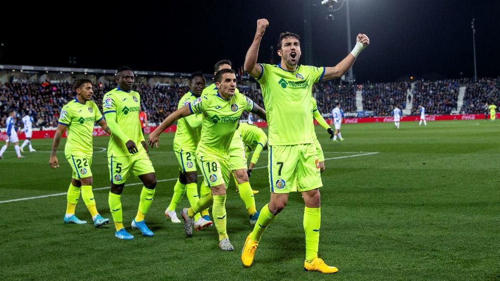 Jaime Mata celebra el tercer gol del Getafe ante el Leganés