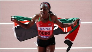 La keniana Obiri, en competición