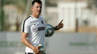 Koke Contreras en un entrenamiento con el Málaga.
