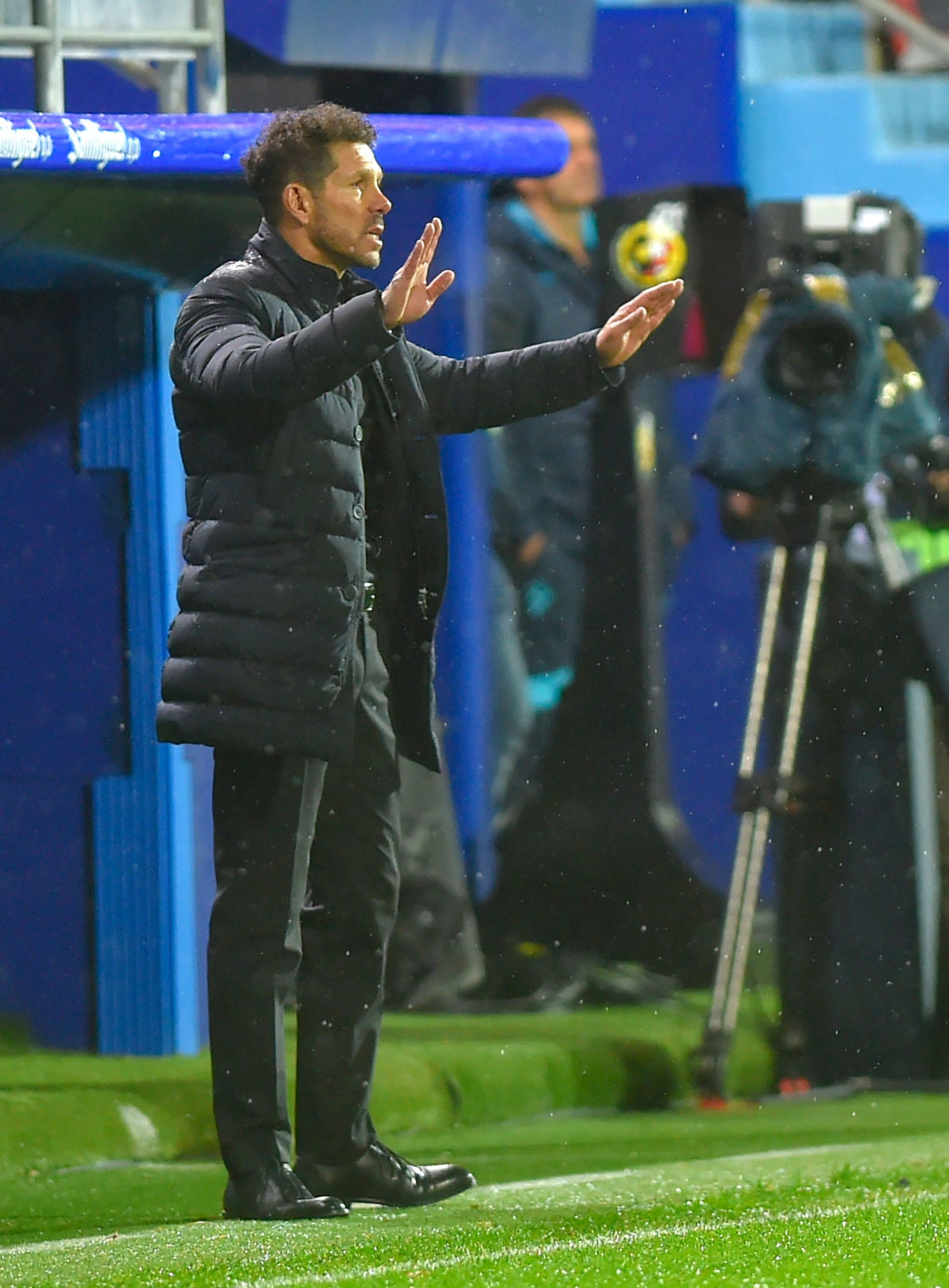 <HIT>Atletico</HIT> Madrids Argentinian coach Diego Simeone gestures during the Spanish league football match between SD Eibar and Club <HIT>Atletico</HIT> de Madrid at the Ipurua stadium in Eibar on January 18, 2020. (Photo by ANDER GILLENEA / AFP)
