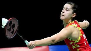 Carolina Marín, en la final del Masters de Indonesia ante Intanon.