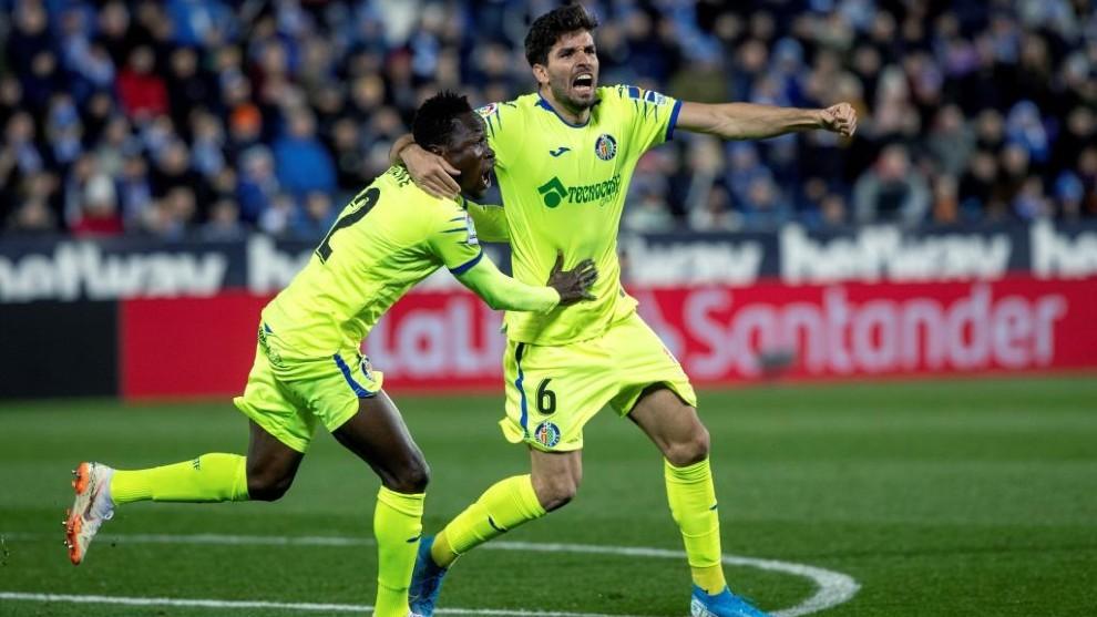 Leandro celebra su gol contra el Leganés.