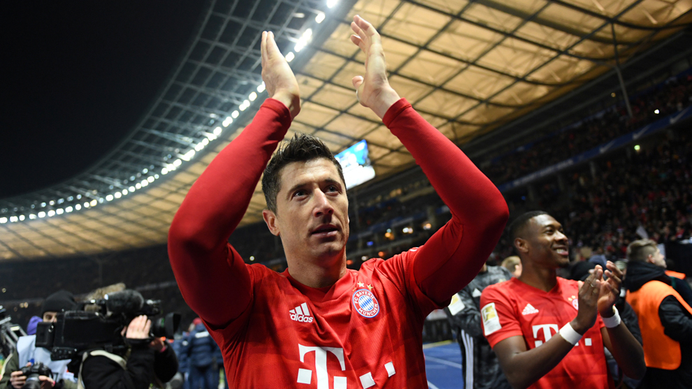 Lewandowski celebra el triunfo del Bayern.