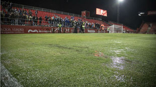 La afición zaragocista en el estadio de Anduva.