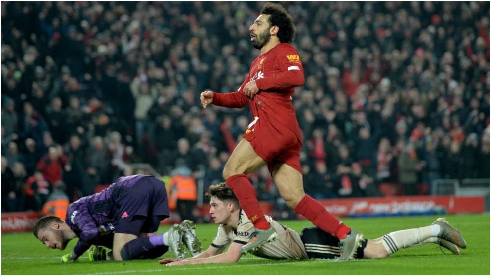 Salah celebra el 2-0 del Liverpool tras batir a De Gea.