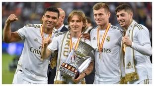 Casemiro (27), Modirc (34), Kroos (30) y Valverde (21), tras ganar la...