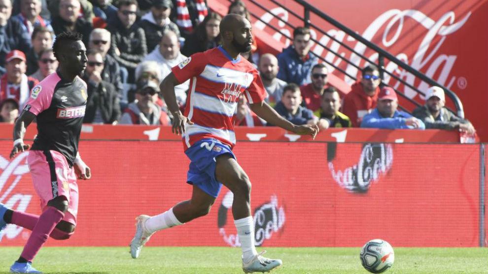 Foulquier en el partido que disputó contra el Mallorca en su estreno...