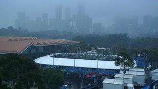 Una imagen de la ciudad de Melbourne y las pistas de tenis