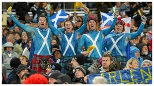 Aficionados de Escocia en un partido ante Nueva Zelanda.