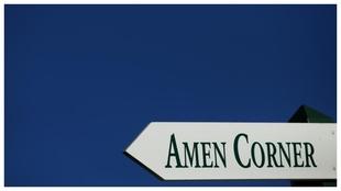Cartel indicador del Amen Córner en el Augusta National