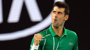 Djokovic celebra su victoria en el Open de Australia