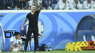 Jorge Sampaoli durante un partido de la selección Argentina en Rusia...