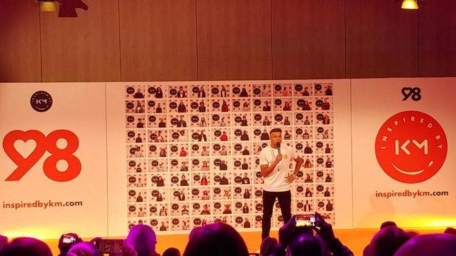 Mbappé, durante el acto de presentación de su Fundación.