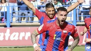 Borja Granero celebra un gol