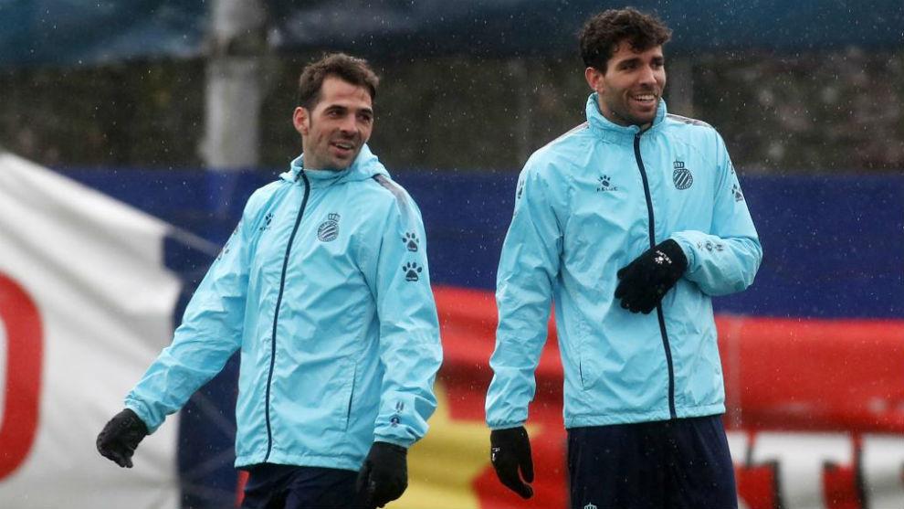 Leandro, junto a Víctor Sánchez, en el entrenamiento.
