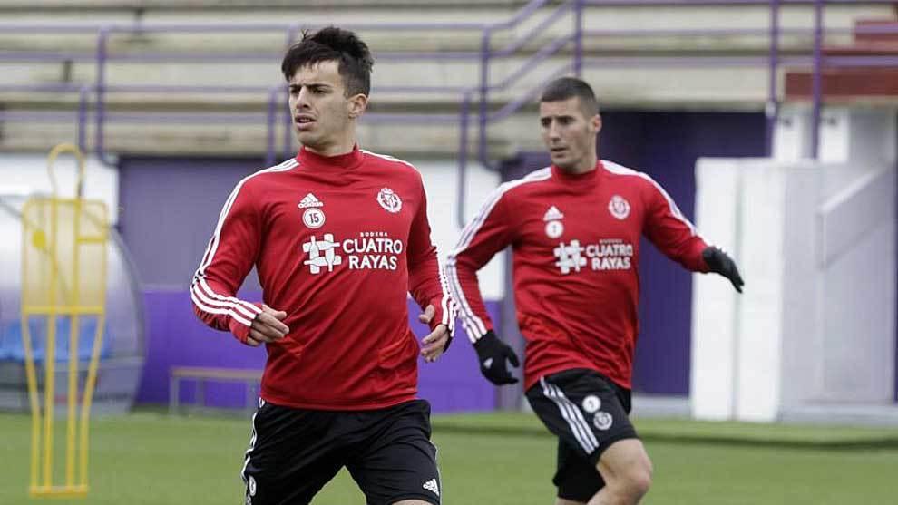 Aguado y Sergi Guardiola durante un entrenamiento en Valladolid esta...