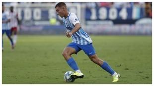 Hugo Vallejpo, durante un partido del Málaga.
