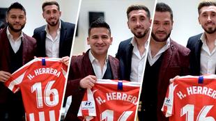 Héctor Herrera posó alegre con los integrantes de la banda El...