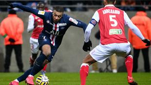 Mbappé, durante un lance del partido contra el Reims