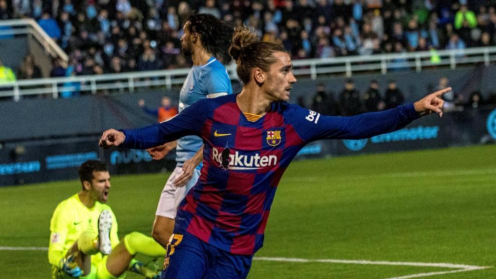 Griezmann celebra uno de los goles ante el Ibiza.