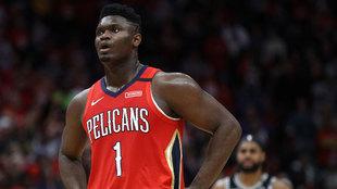 Zion Williamson en su estreno en la NBA