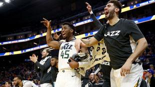 Los jugadores de los Jazz celebran una canasta desde el banquillo