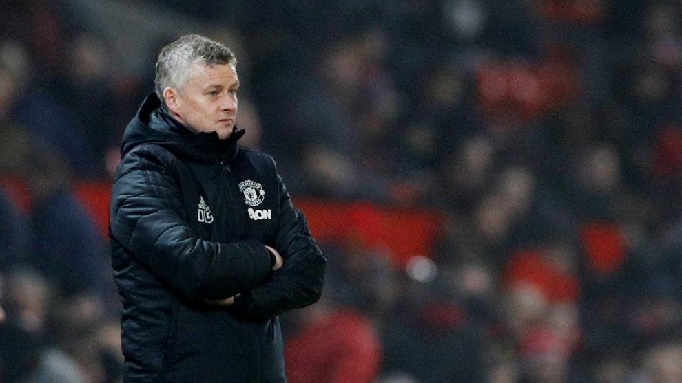 Ole Gunnar Solskjaer durante el partido del Manchester United ante el...