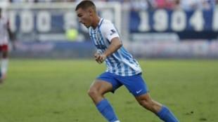 Hugo Vallejo, en un partido del Málaga