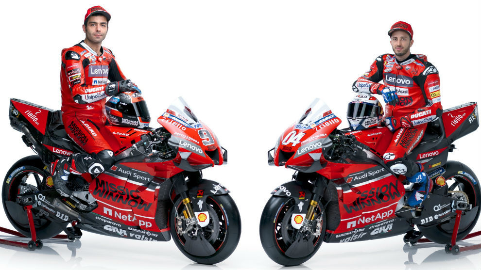 Petrucci y Dovizioso, sobre sus GP20.