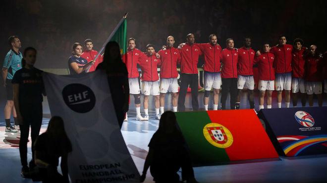 La selección de Portugal, antes de un partido en el Europeo.