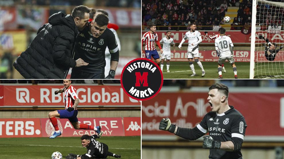 Lucas Giffard, en distintos momentos de su partido contra el Atlético