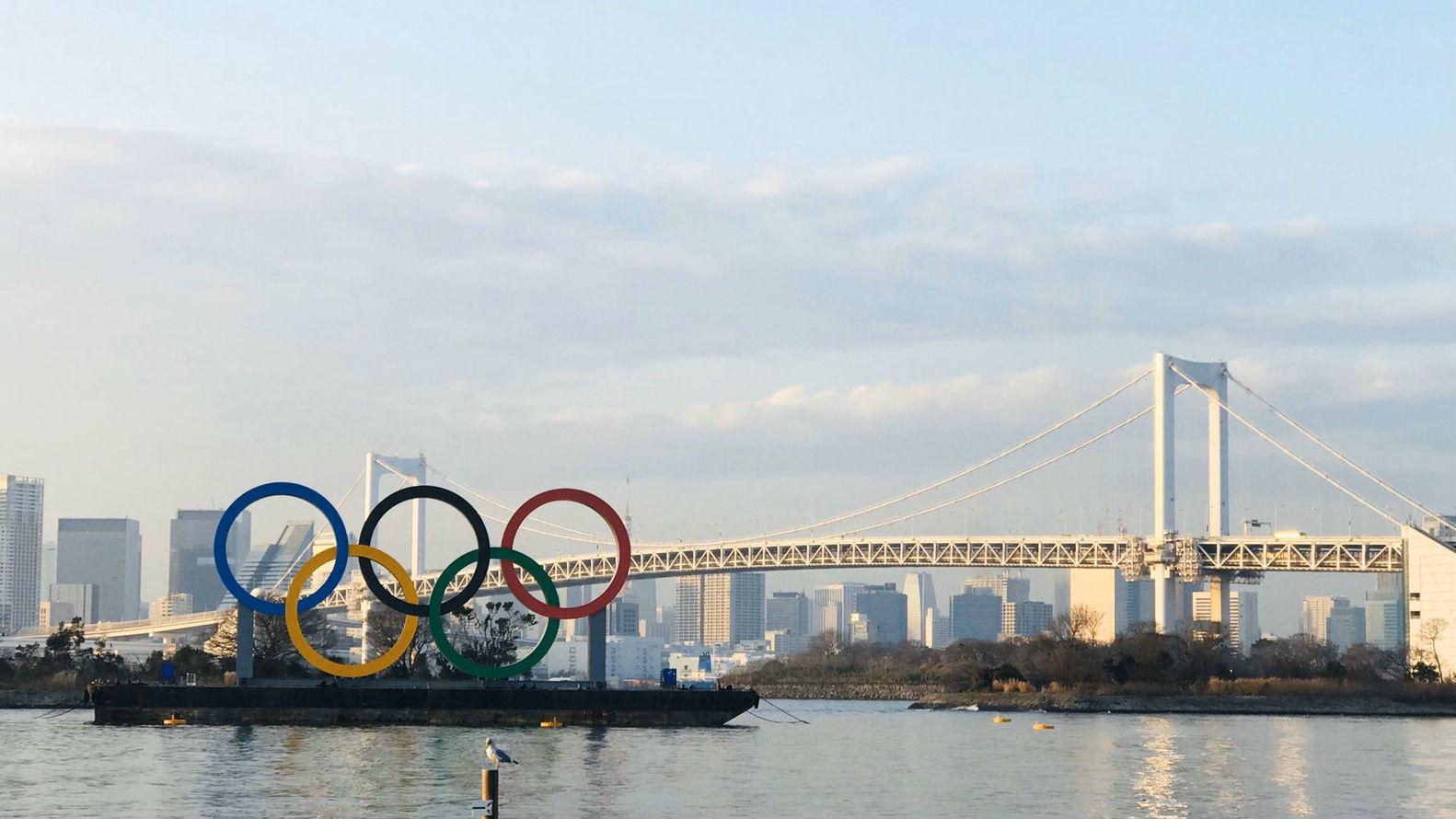 Imagen de los aros olímpicos en Japón