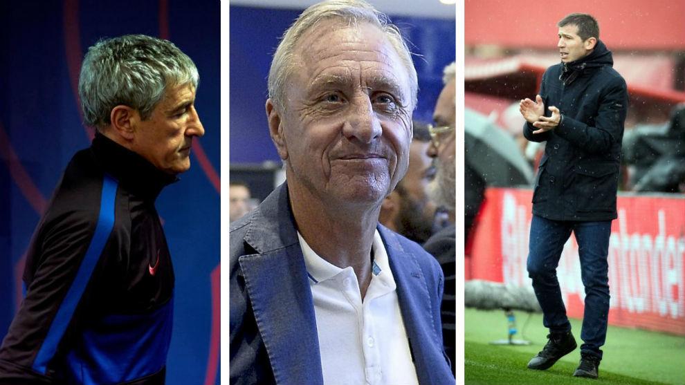 Setién, Johan Cruyff y Albert Celades