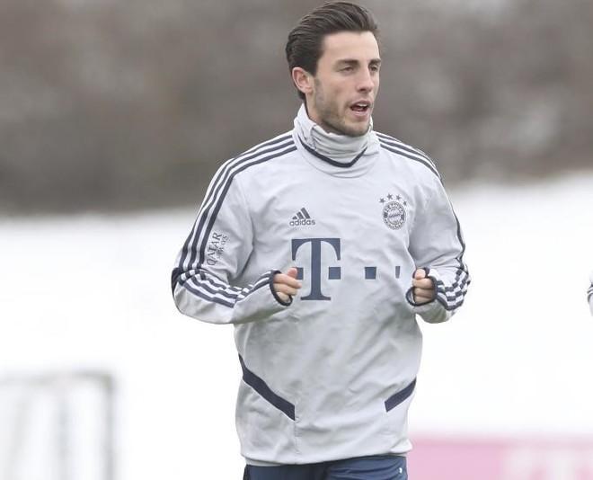Odriozola, en un entrenamiento con el Bayern.