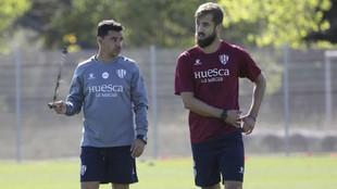 Míchel y Pulido, en un entrenamiento