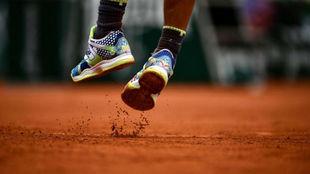 Los pies de Rafa Nadal en Roland Garros 2019.