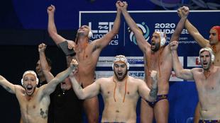 Los jugadores españoles celebran la victoria frente a Croacia.