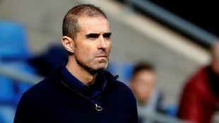 Garitano, serio durante el partido ante el Espanyol.