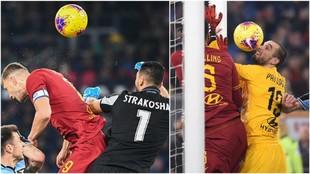 Strakosha falla en el gol de Dzeko y Pau se equivoca en el gol de...