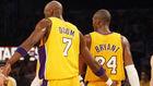 Lamar Odom y Kobe Bryant, juntos en un partido de los Lakers