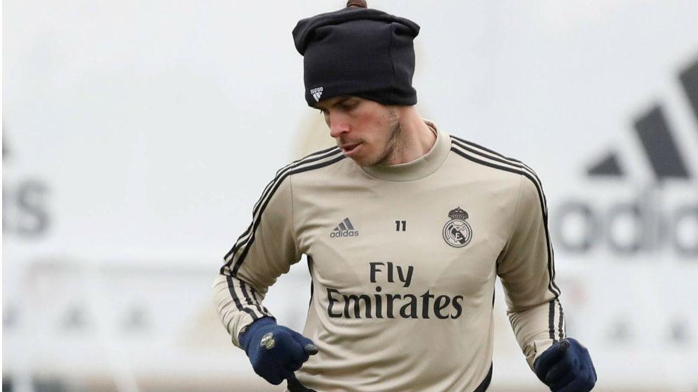 Bale, en el entrenamiento de esta mañana en Valdebebas.