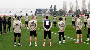Ramos en el entrenamiento del Real Madrid.