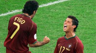 Figo y Cristiano Ronaldo en el Mundial de Alemania.